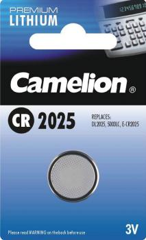 Lithium Knopfzelle CAMELION CR2025 3V, 20x2,5mm, 1er-Blister