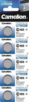 Lithium Knopfzelle CAMELION CR2025 3V, 20x2,5mm, 5er-Blister